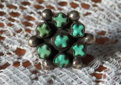 Unique Silver and Turquoise X Ring by ShazStuff on Etsy