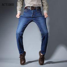 >> Click to Buy << ACTIDEE New Jeans men 2017 mens jeans elastic straight jeans long slim fit casual trousers denim pants men plus size 38 40 42 #Affiliate
