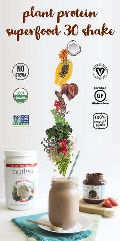 Organic Plant Protein Superfood 30 Shake kitchen.nutiva.com Organic no stevia