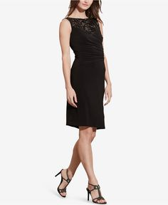 Lauren Ralph Lauren Sequined-Yoke Sheath Dress - Dresses - Women - Macy's