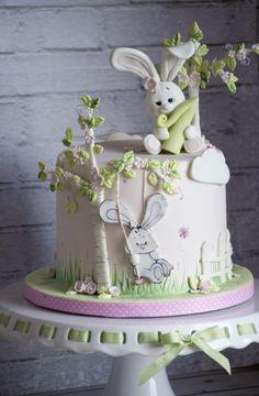 Bunny Cake - Cake by Vanilla & Me - Cake-Art, Tortenkunst, Fondant. - first birthday cake-Erster Geburtstagskuchen Bunny Birthday Cake, Easter Bunny Cake, First Birthday Cakes, Bunny Cakes, Birthday Parties, 21st Birthday, Bolo Fondant, Rabbit Cake, Animal Cakes