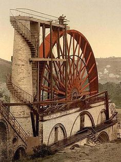 Lady Isabella is the largest working waterwheel in the world in the village of Laxey in the Isle of Man.  It is located on a small island in the Irish Sea between Britain and Ireland.  The waterwheel was built mainly of wood with a few parts being metal in 1854 to pump water from the mineshafts.