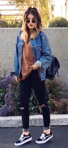 See our straightforward, comfortable & simply lovely Casual Fall Outfit inspiring ideas. Get encouraged with these weekend-readycasual looks by pinning one of your favorite looks. casual fall outfits for work Teen Fashion, Fashion Outfits, Fashion Women, Fashion Clothes, Fashion Ideas, Vans Fashion, Fasion, Edgy Fall Fashion, Dress Fashion