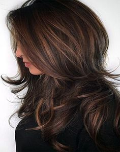Chocolate Brown to Caramel Balayage Hairstyle for Medium Hair