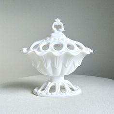 rococo milk glass covered dish.  #milk_glass