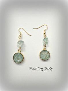 Sea Glass Earrings  Beach Glass Earrings  by BlackDogJewelrynArt