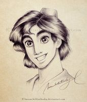 Aladdin portrait bnw by *moonchildinthesky on deviantart drawing disney cha Cartoon Sketches, Disney Sketches, Cartoon Art, Drawing Sketches, Disney Princess Drawings, Disney Drawings, Drawing Disney, Arte Aladdin, Jasmine E Aladdin