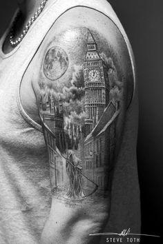 Grim Reaper and London Skyline Tattoo To see Steve's portfolio please visit https://www.monumentalink.co.uk/steve-toth-tattoo-artist/