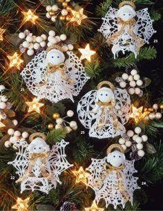 Thread Crochet ornaments. DIY Tree decorations.