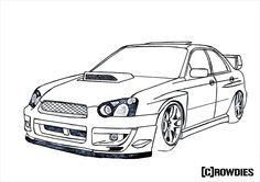 Subaru impreza sti wrc outline by - Coloriage subaru ...