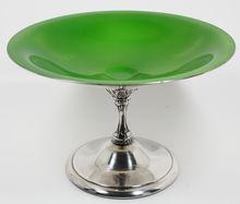 Reed & Barton Enamel Deep Green Pedestal Dish #141