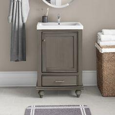 "Gracie Oaks Guang 60"" Single Bathroom Vanity Set | Wayfair Shower Base, Shower Floor, Tile Floor, Single Bathroom Vanity, Bathroom Wall, Sink Top, Mirror Backsplash, Porcelain Sink, Vinyl Tiles"