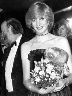 "December 9, 1982: Princess Diana at the premiere of the movie ""E.T."" at the Empire Theatre, Leicester Square, London. She meets producer Steven Spielberg and actress, Drew Barrymore gives her an E.T. cuddly toy."