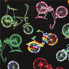 black flowered bikes fabric by Timeless Treasures