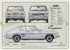 Ford Capri 1600 GT classic car portrait print You are in the right place about rare Classic Cars Here we offer you the most beautiful pictures about the Classic Cars rolls royce you are lo Ford Capri, Mk1, Mercedes Classic Cars, Ford Classic Cars, Classic Cars British, Classic Car Restoration, Cars Uk, Car Ford, Vintage Cars