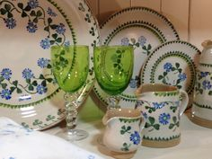 Nicolas Mosse Pottery - A few finished pieces of the new Clover pattern mixed in with some green glassware in their Irish Country Shop. Irish Pottery, Pottery Patterns, Country Shop, Irish Design, Irish Cottage, Irish Eyes, Irish Lace, Pattern Mixing, Ceramic Pottery