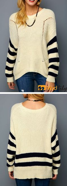 60ca94d9a4 Striped Drop Shoulder Open Knit Pullover Sweater. casual, simple, fashion.