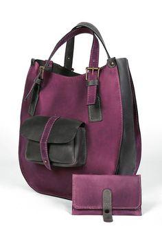 Leather handbag, bags and purses, Women's Handbag, Purple and Gray Handbag, Hand Made bag, Totes, Shoulder Bag  , crossbody bag,