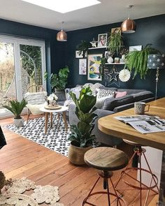 How To Use Dark Green in Your Living Room — Melanie Jade Design Small Open Plan Kitchens, Open Plan Kitchen Living Room, Kitchen Dining Living, Open Plan Living, Cosy Kitchen, Design Living Room, Home Living Room, Living Room Decor, Cosy Room