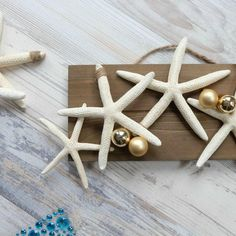 2-Step DIY Starfish Ornament Homemade Ornaments, Diy Christmas Ornaments, Homemade Christmas, 2 Step, Coastal Christmas, New Crafts, Starfish, Pottery Barn, Craft Projects