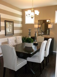 Traditional dining room with a striped accent wall room wall decor traditional 23 Elegant Traditional Dining Room Design Ideas Dining Room Paint Colors, Room Wall Colors, Dining Room Design, Accent Wall Colors, Accent Decor, Accent Chairs, Accent Walls In Living Room, Dining Room Walls, Living Room Paint