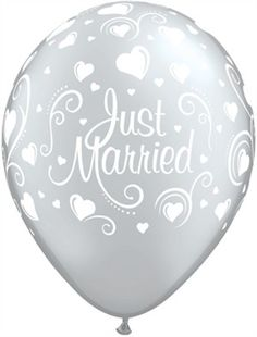 """Just Married Hearts 11"""" Silver Latex Balloons 25pk"""
