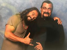 Jason Momoa with Steven Seagal Jason Momoa Lisa Bonet, Jason Momoa Aquaman, Steven Seagal, Jason Bateman, Delta Force, The Expendables, Jackie Chan, Air Force Ones, Keanu Reeves