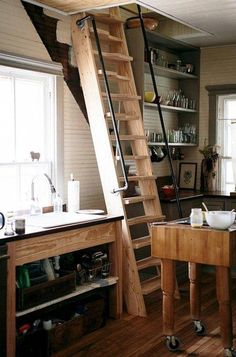 Ideas for attic stairs loft small spaces Tiny House Stairs, Tiny House Loft, Tiny House Storage, Attic Stairs, Attic Storage, Storage Stairs, Micro House, Small Attics, Small Loft