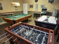 Ultimate Game Room with Video Arcade, Billards, Air Hockey Table, Foosball Table