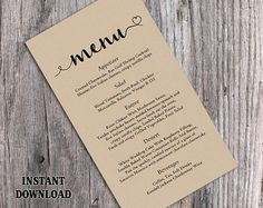 Elegant Menu Cards, Formal Menu Card, Black and White, Wedding ...