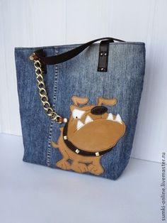 Купить Сумка джинсовая Be careful ! Denim Handbags, Denim Purse, Denim Crafts, Recycle Jeans, Recycled Denim, Patchwork Bags, Fabric Bags, Handmade Bags, Purses And Bags
