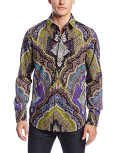 Robert Graham Men's Virgil Long Sleeve Woven Shirt, Black, XX-Large. Contrast interior cuffs, decorative ribbon either on the edge of garment. Cotton, classic fit, contrast interior neckband. An engineered paisley print defines this essential piece of your wardrobe. This piece is crafted from Egyptian cotton. Size (XX Large). Mens Printed Shirts, Robert Graham, Egyptian Cotton, Paisley Print, Casual Button Down Shirts, Batik Art, Monument Valley, Long Sleeve, Mad