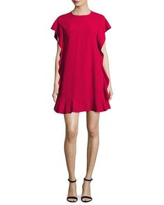 TDFJ8 RED Valentino Flutter-Sleeve Ruffled Swing Dress, Hibisco