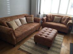 Tan Leather Sofa Grey Walls Natural Rug Living Room White Shutter Blinds  Oak Floors
