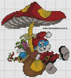 SCHEMA GRANDE PUFFO NATALIZIO Modern Cross Stitch, Cross Stitch Charts, Cross Stitch Patterns, Cross Stitching, Cross Stitch Embroidery, Walt Disney, Stitch Character, Stitch Cartoon, Minecraft Pixel Art