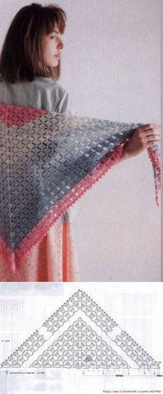 18 new ideas that have been specially selected for you - WP Post Poncho Au Crochet, Crochet Shawl Diagram, Crochet Chart, Crochet Scarves, Crochet Clothes, Crochet Stitches, Knit Crochet, Shawl Patterns, Crochet Patterns