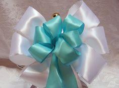 White and Tiffany Blue Satin Wedding/ Pew Bows by creativelycarole, $132.00 Keywords: #weddings #jevelweddingplanning Follow Us: www.jevelweddingplanning.com  www.facebook.com/jevelweddingplanning/