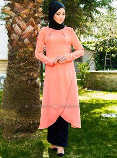 Wrap Tunic - Pinkish Orange - Aker