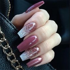 30 Best Bridal Nail Art Designs That Will Trend This Year! Mauve Nails, Glitter Nails, Purple Glitter, Acrylic Nails Maroon, Nails Acrylic Coffin Glitter, Long Square Acrylic Nails, Disney Acrylic Nails, Long Square Nails, Glitter Top