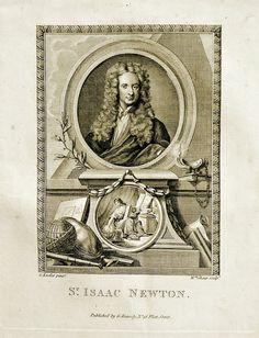 Sir Isaac Newton Portrait, original copper-plate engraving