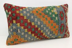Handmade Lumbar Kilim Pillow Cover 16 x 28 Seat by kilimwarehouse