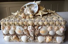 Click here to DIY this Magnificent Shell Box.  Blog & Video.  From MrsPollyRogers.com