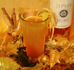 """~ 12 Cocktails of Christmas at the Mac House ~  #2 - GINGER SPICED CIDER: Organic apple juice, cinnamon, clove, allspice, ginger, lemon juice, Jepson Old Stock Mendocino Alambic Brandy.  Photo courtesy of Jennifer Clark and original cocktail courtesy of Sarah """"Millie"""" McCormick."""