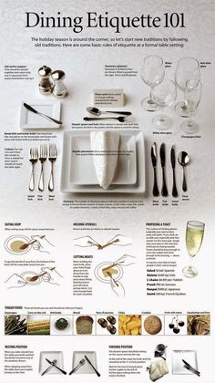 via Pinterest I love it when I come across these delightful etiquette cheat sheets, especially ones like this sample place setting that removes all fear and apprehension out of setting a formal table.