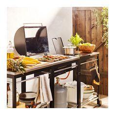 KLASEN Gasolgrill m sidobrännare/rullvagn - rostfritt stål - IKEA