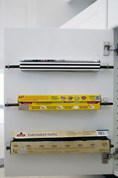 Ideas for the Kitchen Organization – Command Strips, Hooks apartment therapy - Kitchen Remodel Diy Kitchen Storage, Diy Storage, Kitchen Decor, Kitchen Design, Kitchen Ideas, Organizing Ideas For Kitchen, Paper Storage, Design Bathroom, Kitchen Stuff