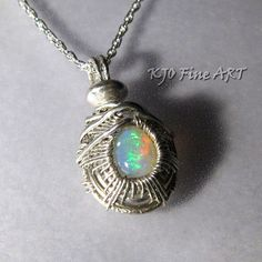 Gemstone Opal Sterling Silver Wire Wrapped Woven by KJOFineArt
