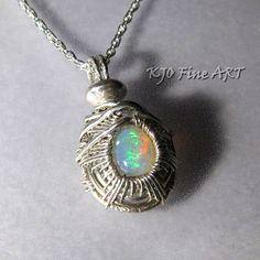 Gemstone Opal Sterling Silver Wire Wrapped Woven by KJOFineArt