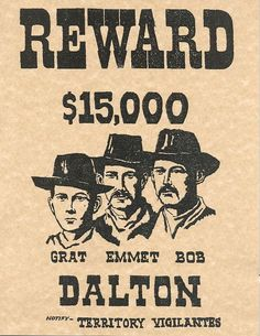 Dalton Gang Old West Wanted Poster