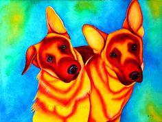 German Shepherd Dog Watercolor Painting by rachelspetpaintings